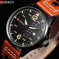 Módulo de Tiempo de Los Deportes Del Relogio CURREN Marca Relojes Para Hombre de La Vendimia Relojes de Cuarzo Manos Luminosas Fecha Día Reloj de Cuero Militar Del Ejército