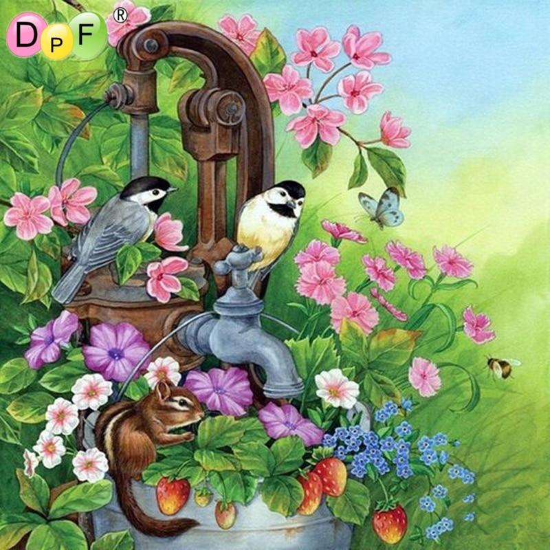 DPF DIY faucet bird 5D square diamond painting cross stitch crafts diamond embroidery mural home decoration mosaic