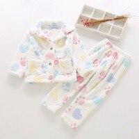 2 10 Y Kids Pajama Set Cartoon Printed Lapel Thick Nightwear For Boys Girls Autumn Winter Flannel Warm Home Wear Child Sleepwear