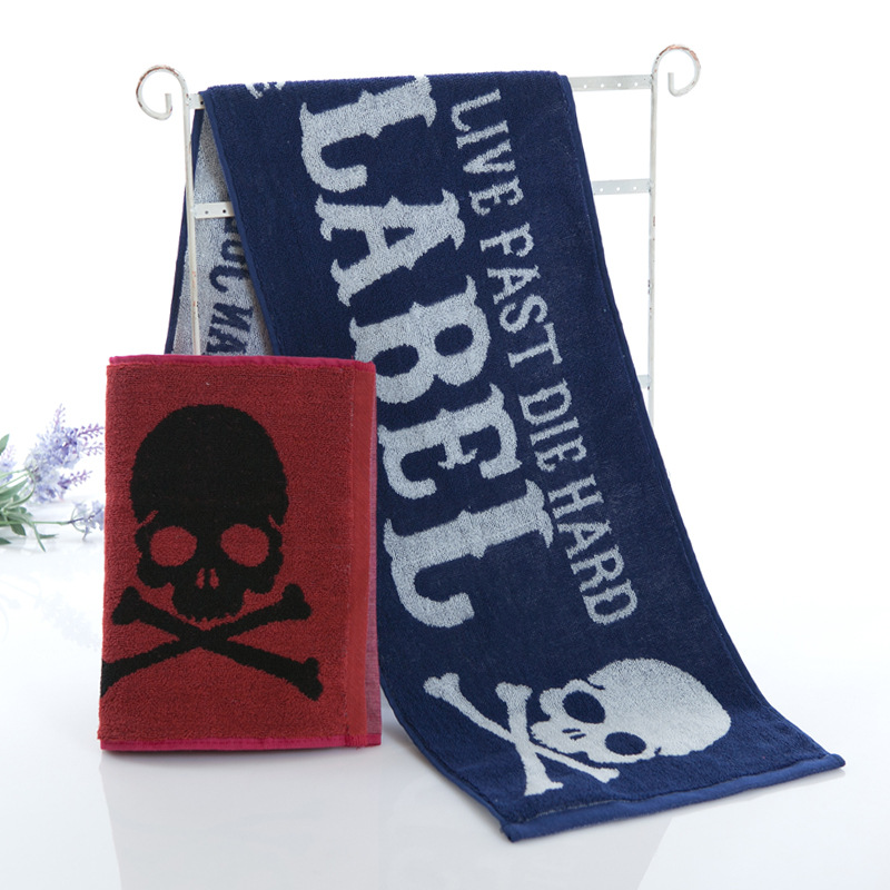 Cotton Towel To Wipe Sweat Running Fitness Movement, Flower Type Convenient Neck Hanging Skull