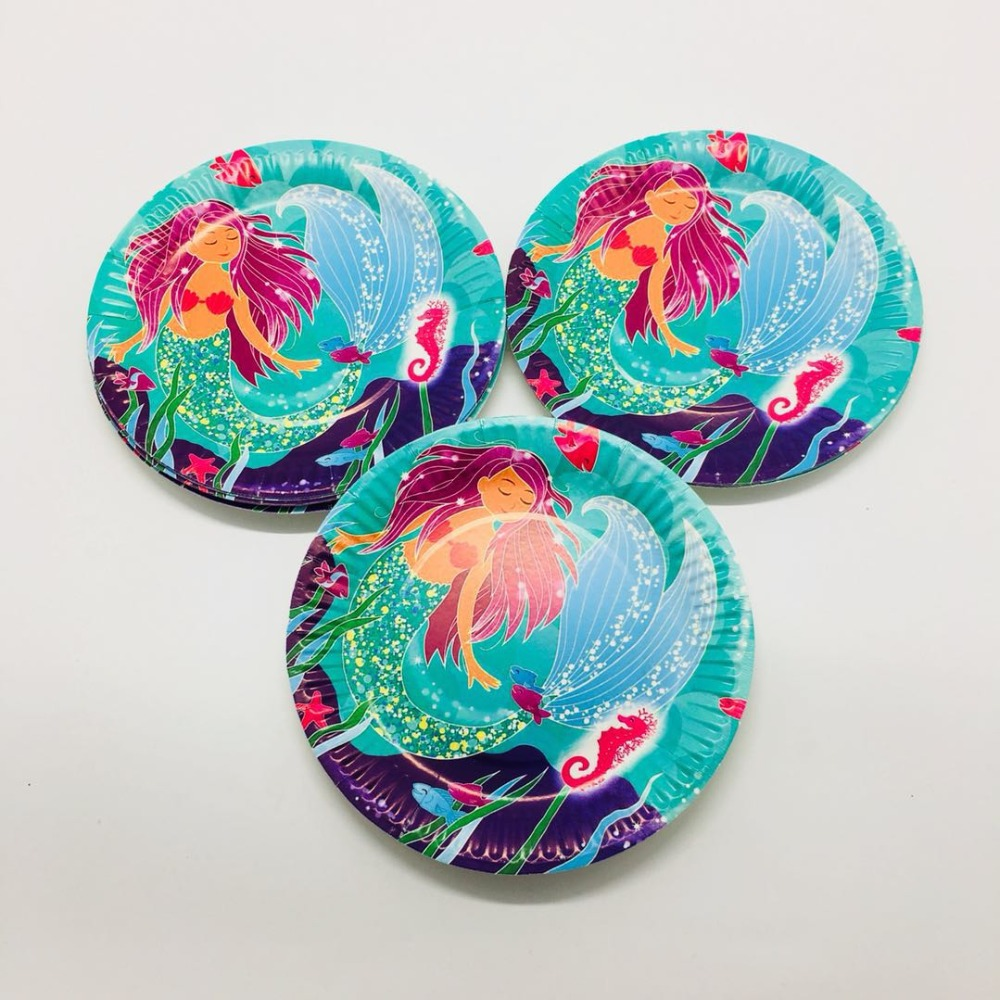 10pcs/lot 7inches little mermaid disposable plates baby shower Mermaid party decorations Little mermaid plates dishes
