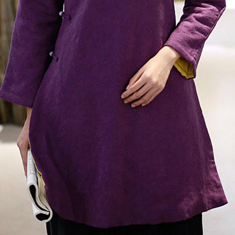 A Classic Viola Piatto Jacquard Di Lunga Femminile Sottile Inverno Cappotto Manica Basamento Giacca Cotone Tracolla Collare Retro Pulsante Del 1xwfz8