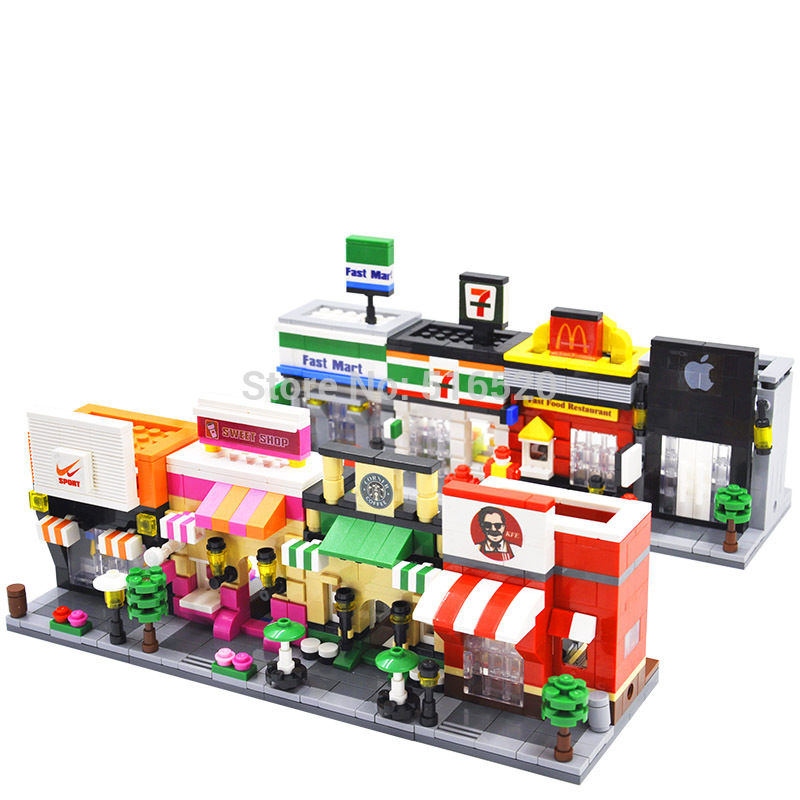 Legoingly City Mini Street Scene 3D Retail Store Arkitektur Educational Building Blocks Sätter Modell Leksaker För Barn