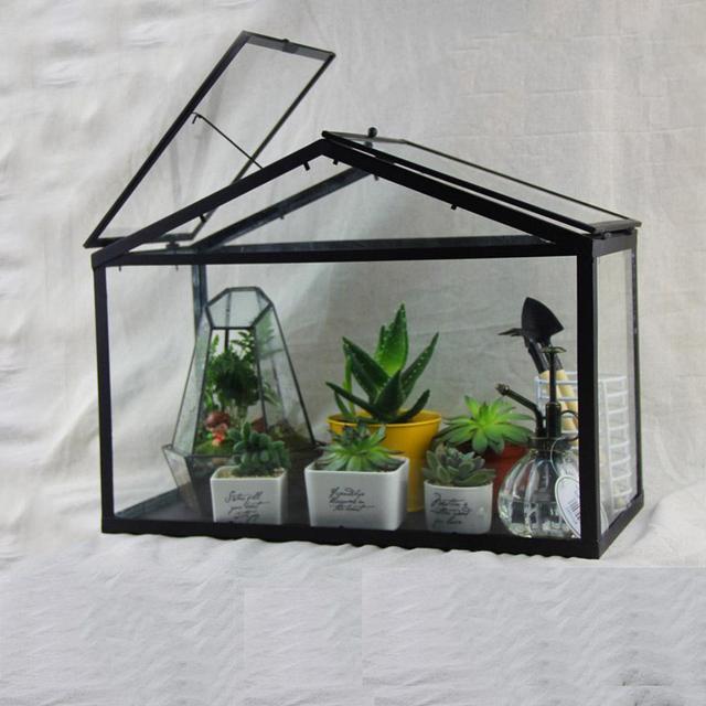 Delightful Free Shipping Modern Glass Geometric Terrarium House Shape Tabletop  Succulent Plant Terrarium Box Bonsai Flower Pot