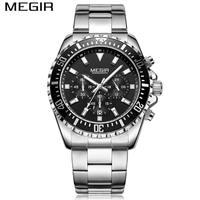 MEGIR Men Casual Quartz Sport Watch Chronograph Stainless Steel Waterproof Sports Wristwatches