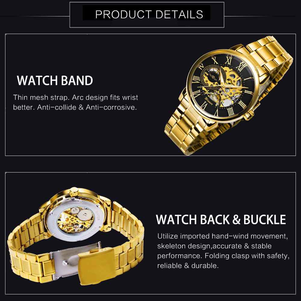 Classic Golden Skeleton Mechanical Watch Men Stainless Steel Strap Top Brand Luxury Man Watch Vip Drop Shipping Wholesale Mechanical Watches