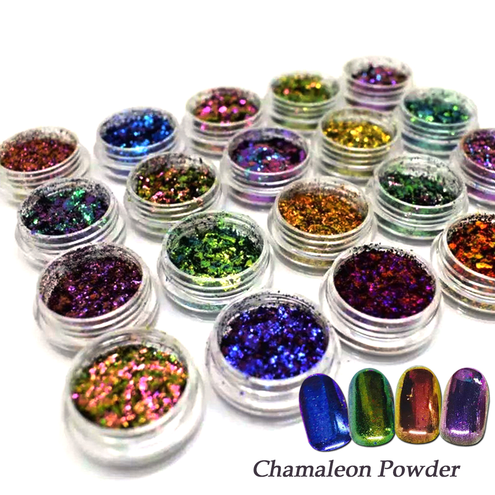 1 Bottle New Chameleon Flakes Magic Effect Holographic Nail Powder Glitter Sequins DIY Nail Art Decoration Pigment SABS07-27 new wallet бумажник chameleon