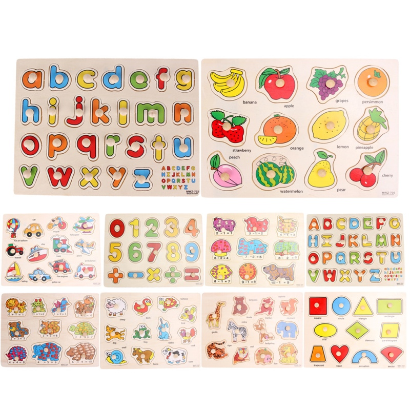 33cm Kid Early Educational font b Toys b font Baby Hand Grasp Wooden Puzzle Alphabet and