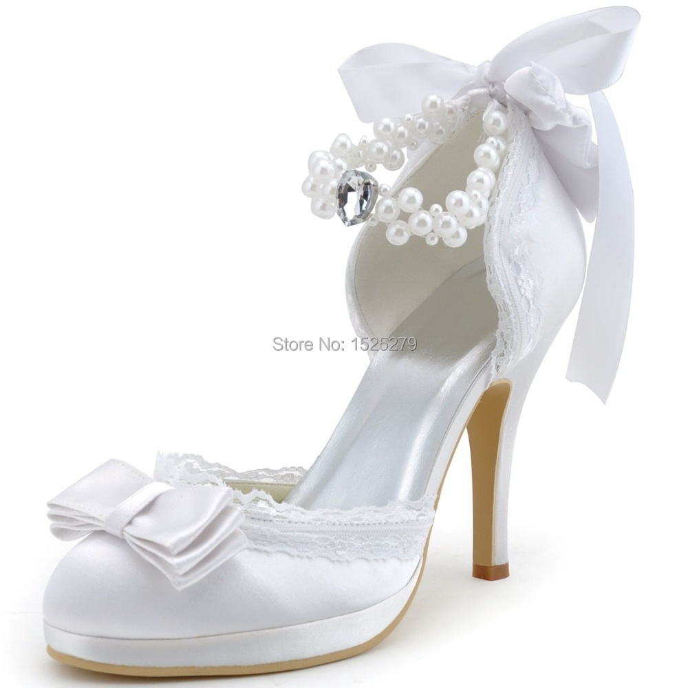 A3202C-PF White Ivory Women Bridal Party Pumps High Heel Lace Trim Platform Bow Pearls Buckles Straps Satin Wedding Bride Shoes