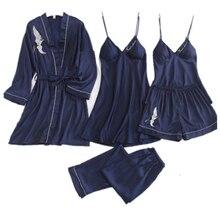 Daeyard Women's Pajamas 5 Pieces Satin Pajama Sets Sleepwear Silk Home Wear Embroidery Slee