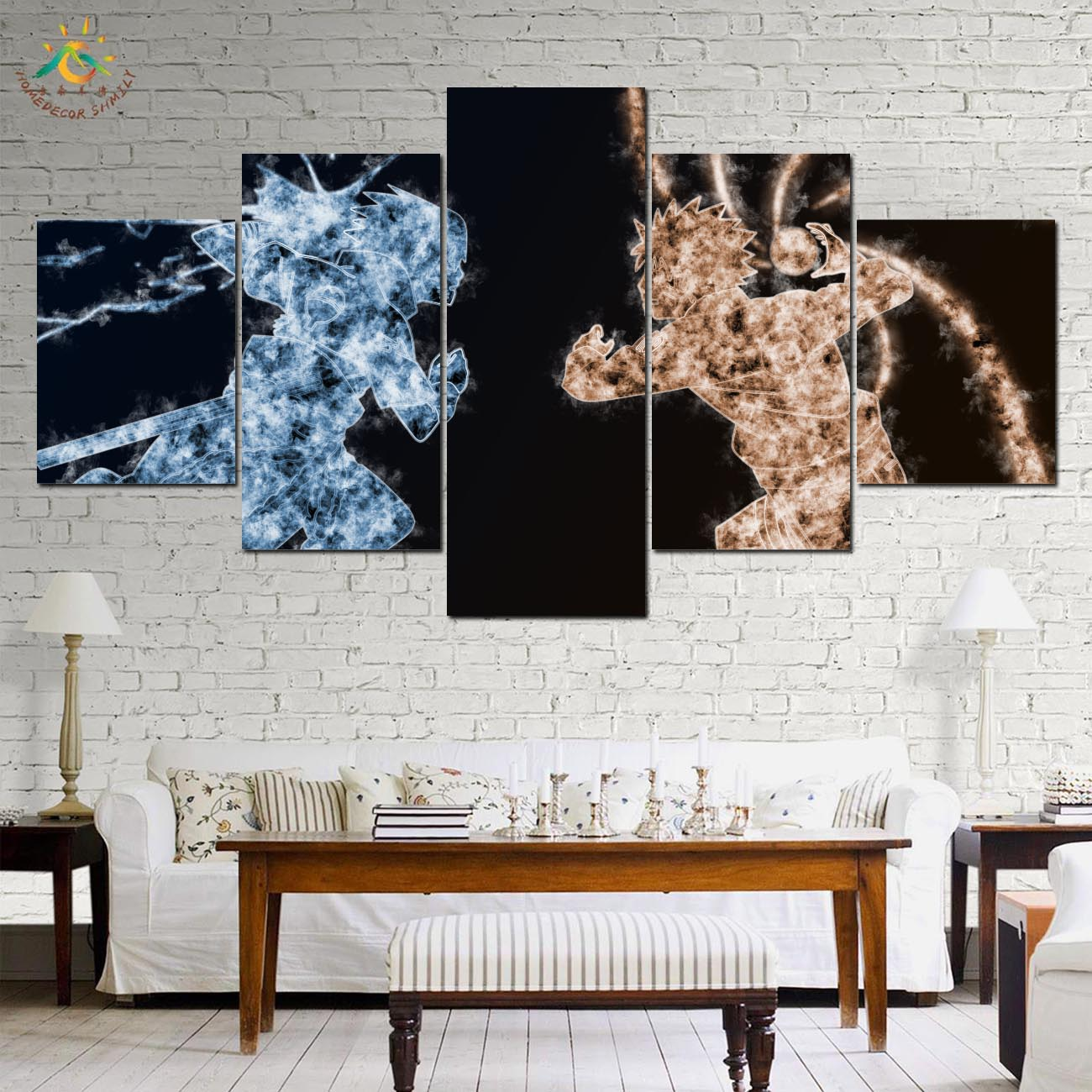 Naruto Fighting Wall Art HD Prints Canvas Art Painting Modular Picture And Poster Canvas Painting Decoration Home 5 PIECES in Painting Calligraphy from Home Garden