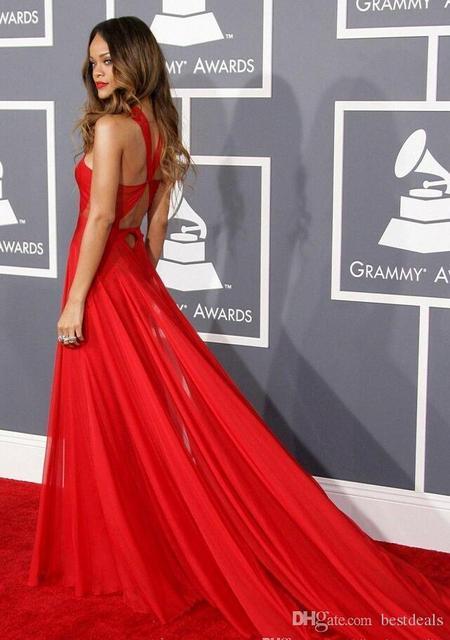 55-й грэмми рианна платья 2015 красный высокая шея открытой спиной красной ковровой дорожке платья знаменитостей полу-sheer вечерние платья