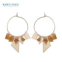 Sansummer New Hot Fashion Golden Big Round Square Pendant Geometric Element Boho Green Orb Earrings For Women Jewelry
