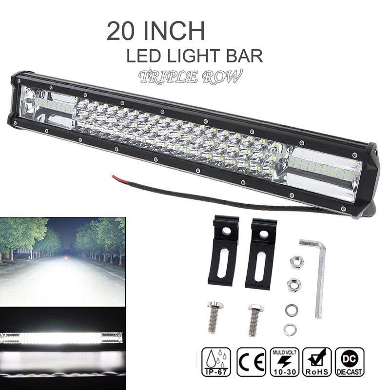 7D 20 Inch 540W Car LED Work Light Bar Triple Row Spot Flood Combo Offroad Light