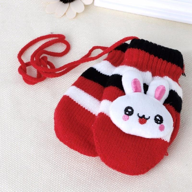 Children Gloves Hanging Knitted Character Rabbit Winter Cute Mittens Warm