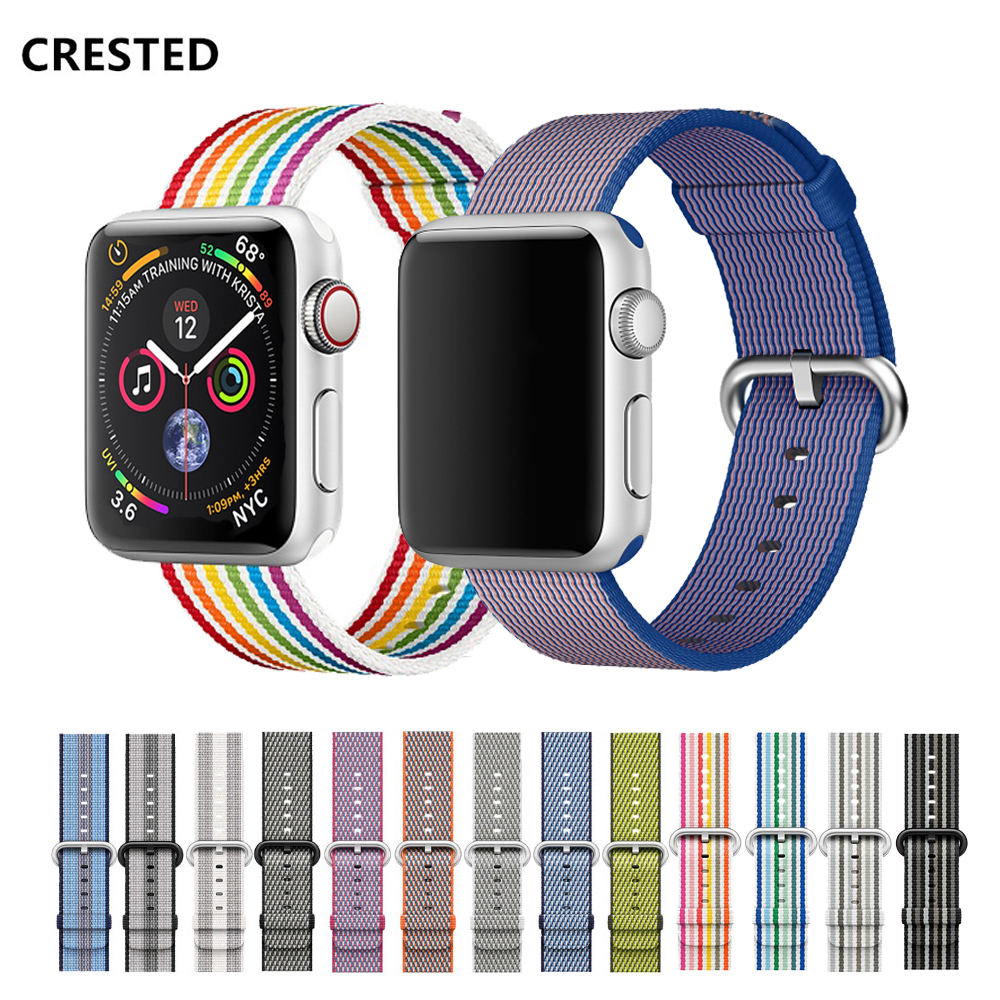 CRESTED Sport woven nylon strap for apple watch band 44 mm 38mm iwatch 4 band 42mm 40mm bracelet wrist for apple watch 4/3/2/1