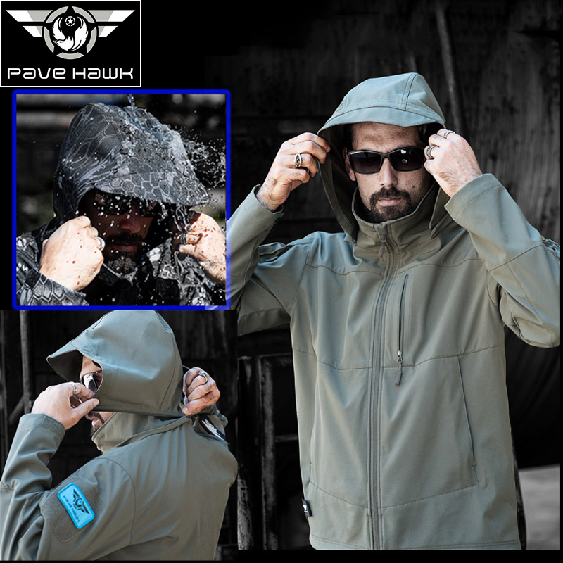 Brand Waterproof Camouflage Military Jacket Men Sharkskin Softshell US Army Tactical Coat Hooded Camo Army Clothing F08