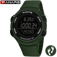 PANARS Clock Digital LED Men's Watch 3D Pedometer Watch Man Shock Resistant Running Sports Watches Hour Alarm Clock Horloge 8110