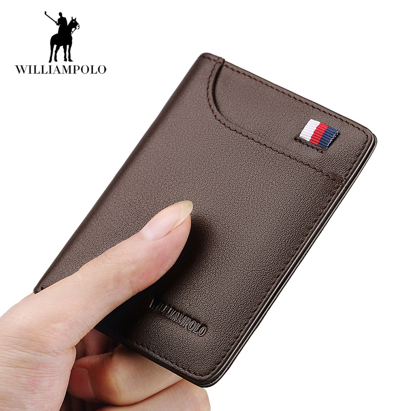 2019 Luxury 100%  Men's Money Purse Thin Slim Short Wallets Card Holder High Quality Card Wallet Cow Leather Business Men Wallet