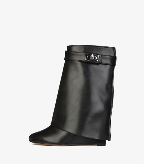 Genuine Leather Shark Lock Boot Pointed Toe Black Leather Buckle Strap Winter Booties Height Increasing Wedge Ankle Boots discount shark lock ankle boots woman pointed toe real leather height increasing wedge mid calf boots woman fashion short boots