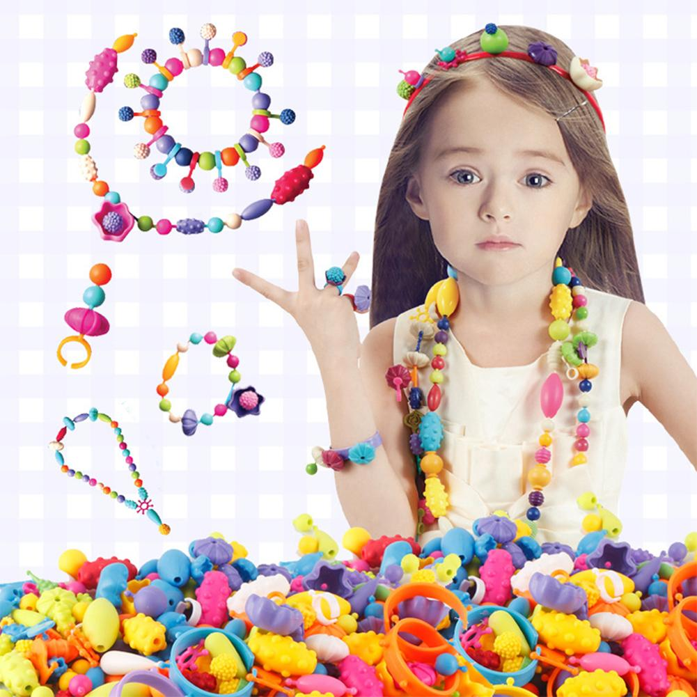 70PCs Colorful Beads Crafts DIY Jewelry Toys Accessories Intelligence Make Up Toy Ring Necklace Princess Kids Girl Hobbies Toys