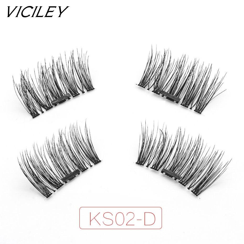 VICILEY New arrival Artificial natural long Magnetic eyelash woman make up wispies super soft silk eyelashes magnet KS02-D