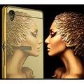 Banhado a ouro espelho de alumínio case para sony xperia z z1 z2 z4 z5 z3 compact z5premium m4 aqua m5 c5 armação de metal + acrílico tampa traseira