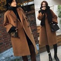 מעיל הצמר של נשים סגנון גולם קטע ארוך בסגנון קוריאני לעבות שמש שני צבעים חדשים בחורף