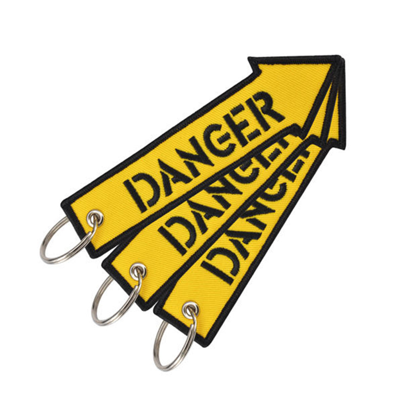 Doreen Box Danger Rescue Yellow Fashion Rock Tags Keychain Keyring Rectangle Polyester Embroidery Message Multicolor 1 Piece