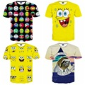 High quality middle boy relaxed and comfortable short-sleeved round neck 3D cartoon cartoon style boy t-shirt 14-20 years