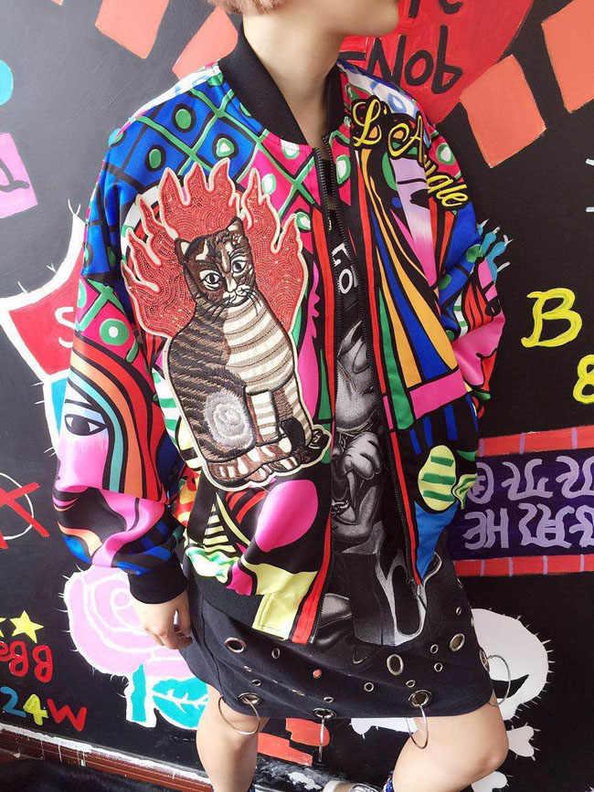 Yeni Kraliçe Nakış Bombacı Ceket Kadın Harajuku Kedi Pilot Ceket Ceket 2018 Rahat Baskı Temel beyzbol ceketleri Dış Giyim