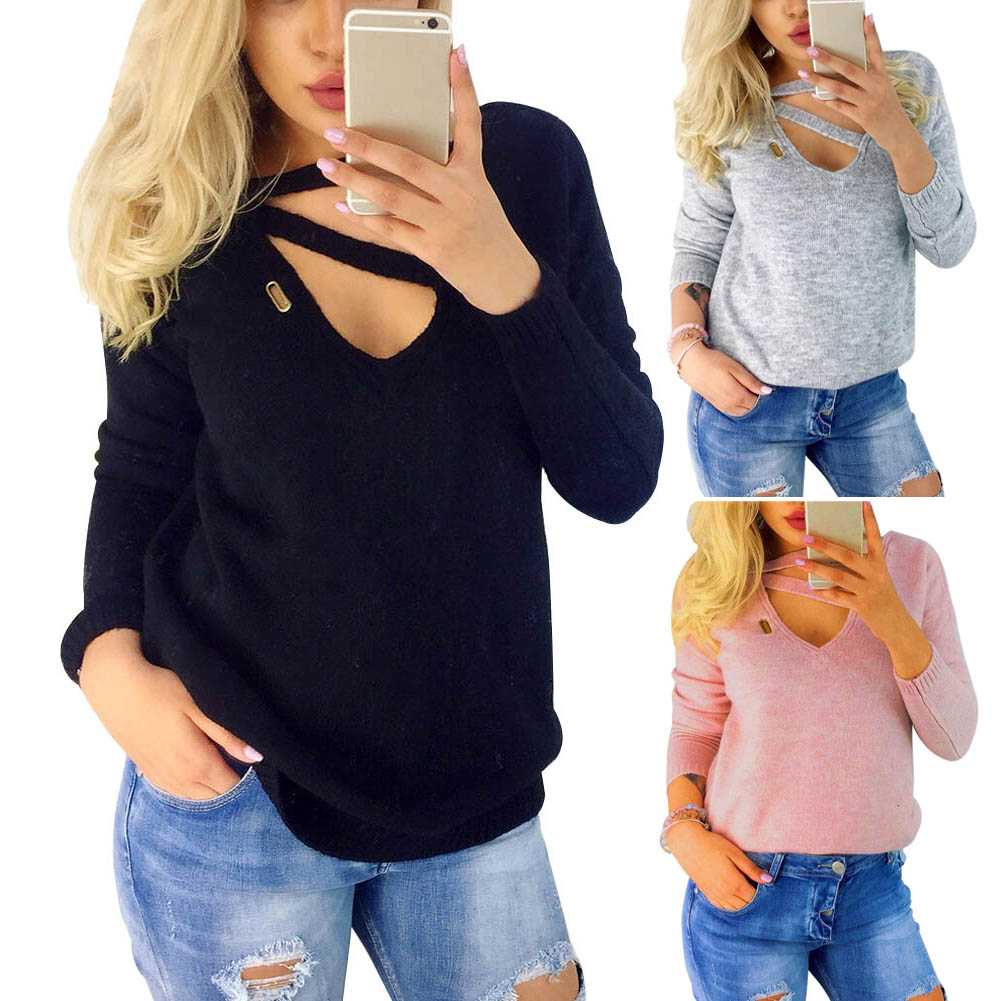 Fashion Autumn Women V-neck Hollow Sweater Slim Knitted Base Shirt Long Sleeve Pullover Casual Tops H9