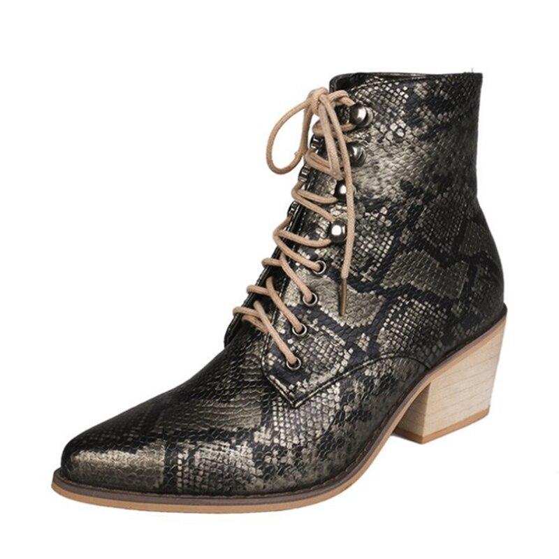 Ho Heave femmes bottes mode bout pointu femmes bottes d'hiver confortable talon carré serpent imprimé chaussures femmes antidérapant Martin botte