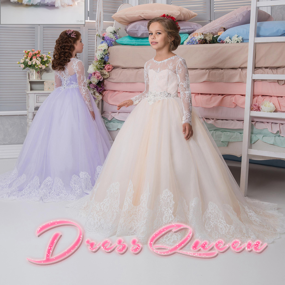 2017 New Flower Girl Dresses Formal Long Sleeves Ball Gown Appliques O-Neck Back Button Communion Gowns For Wedding Vestidos 2017 New Flower Girl Dresses Formal Long Sleeves Ball Gown Appliques O-Neck Back Button Communion Gowns For Wedding Vestidos