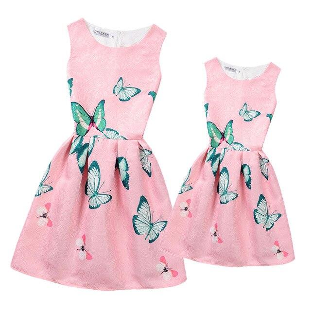 69f9df596f05 Matching Mother Daughter Dresses Clothes Family Matching Clothes Teenage  Girls Dresses Flower Print Vintage Mom Daughter Dress
