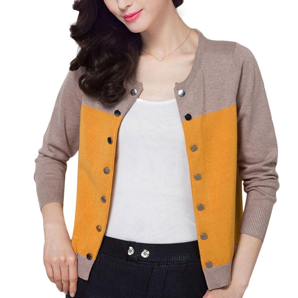 Moda casual mujer primavera otoño patchwork cardigan de punto bombardero chaquet