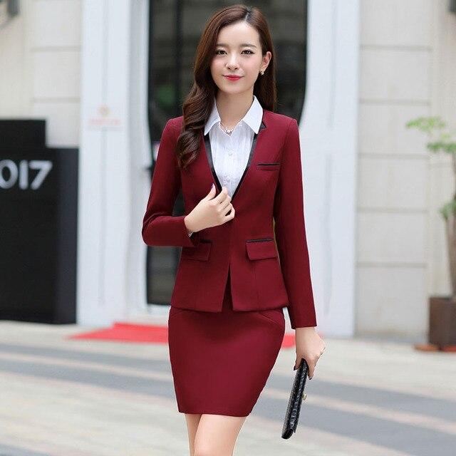 75afdb3d5af Новый 2016 женщин бизнес юбка костюмы мода формальное офис дамы спецодежды женские  костюмы пиджак с юбками