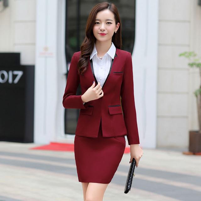 New 2016 mulheres de negócios saia ternos moda Formal do escritório das senhoras vestuário feminino ternos Blazer com saias Hot Sale Plus Size 3XL