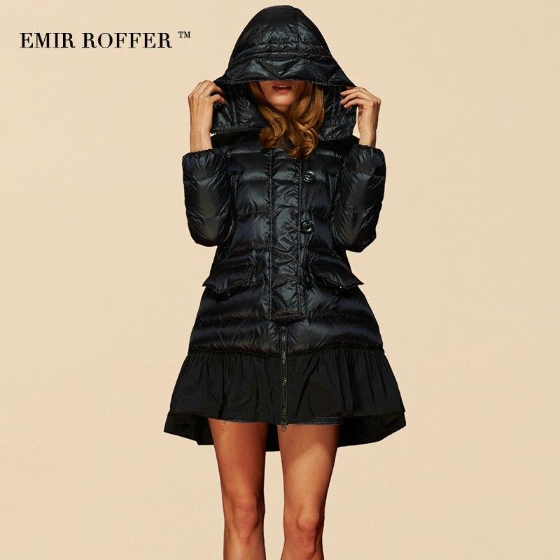 ba3e215004648 Abrigo Gran Capucha Tamaño Capas Parka Camperas Moda Loose en Falda Down  Outwear Con Jacket EMIR ...