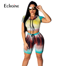2019 Casual Two Piece Set Summer Women Set Shorts and Crop Top Set Tie Dye Printed T Shirts 2 Piece Outfits Hooded Tracksuit цена