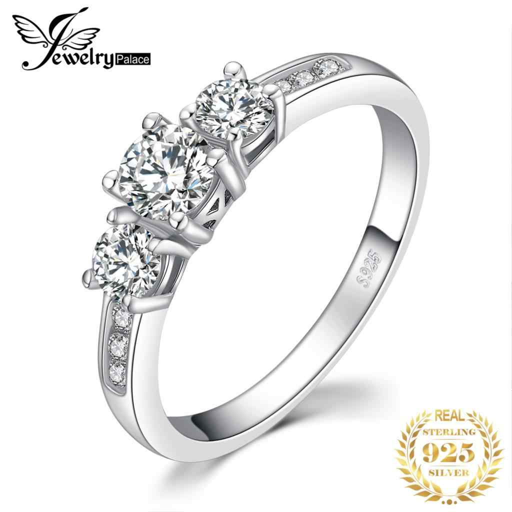 JewelryPalace 3 Stone Rings 1.3ct Cubic Zirconia Promise Rings 925 Sterling Silver Wedding Engagement Rings for Women Jewelry