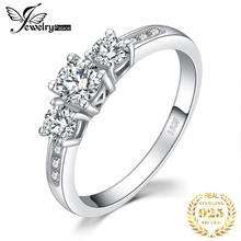 JewelryPalace 3 Stone Rings 1.3ct Cubic Zirconia Promise Rings 925 Sterling Silver Wedding Engagement Rings for Women Jewelry недорого