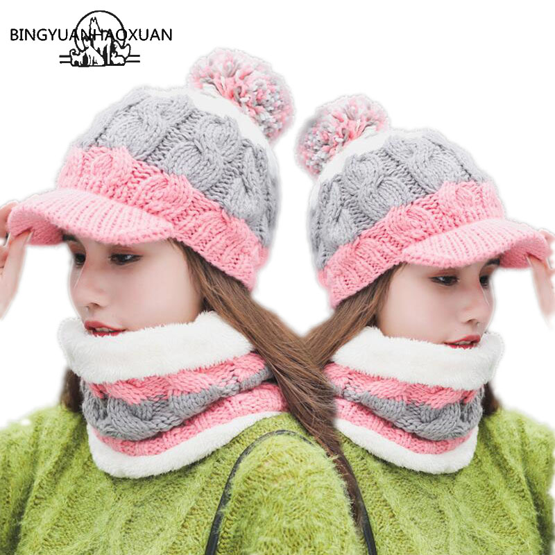 BINGYUANHAOXUAN Warm Neck Knit hat Fur Pompoms Hat Mask Winter Hat For Girl Wool Skullies Hat Female Balaclava sacrf