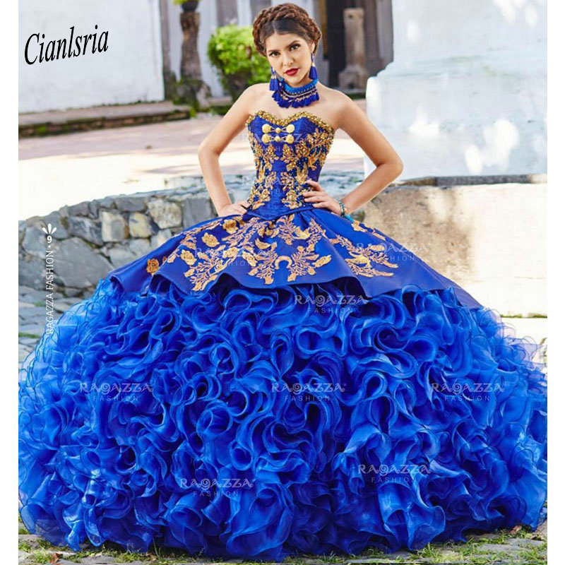 Royal Blue Ball Gown Quinceanera Dresses Strapless Neck Beaded Cascading Ruffles Sweet 16 Dress Organza Appliqued Masquerade