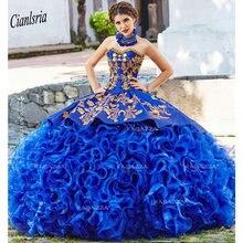Vestido de baile azul real de quinceañera, sin tirantes, cuello con cuentas en cascada, volantes, 16 vestidos, apliques de Organza, mascarada