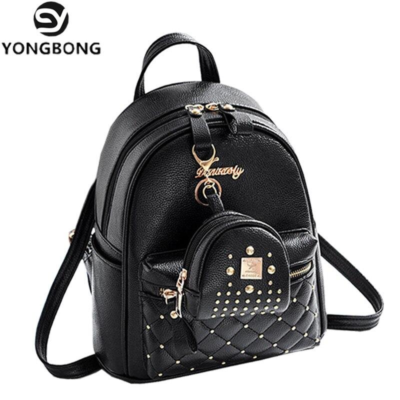 44fee2704daf YONGBONG Composite Bag Pu Leather Backpack Women Cute 2 Sets Bag School  Backpacks For Teenage Girls