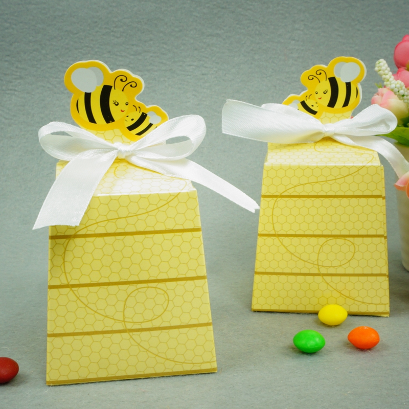 Galabeme 50pc European Yellow Bee Style Favors Candy Boxes Gift Box with White Ribbons Baby Shower Birthday Party Wedding Dec