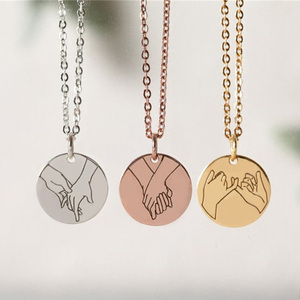 Pinky Swear Gestures Necklace For Women Girls Engraved Sign Language Hand Heart Necklace Sister Best Friend Gifts BFF Jewelry