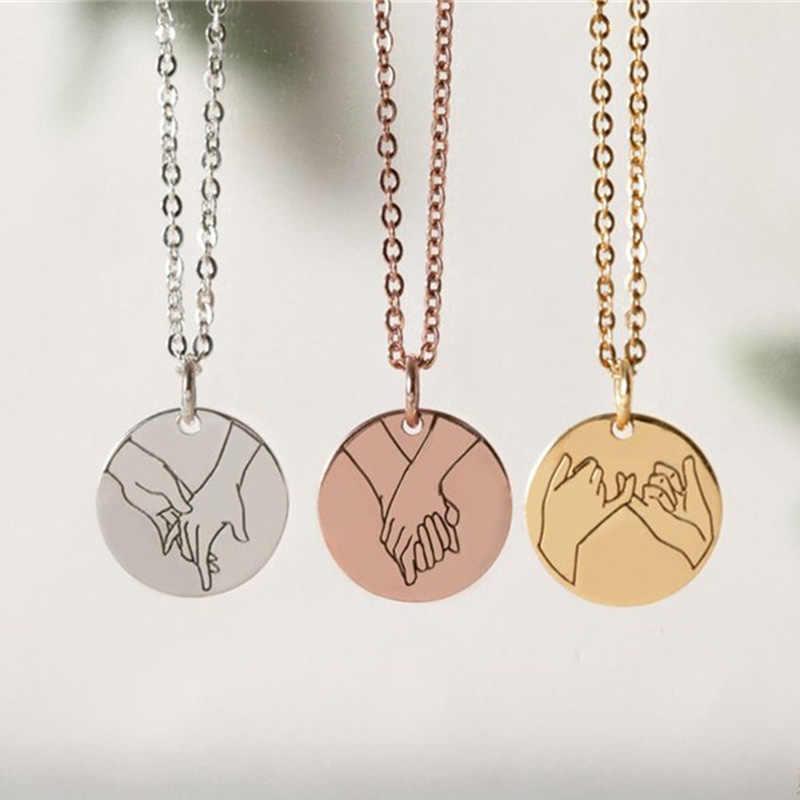 Pinky Swear gesty naszyjnik dla kobiet dziewczynki grawerowane język migowy ręcznie naszyjnik w kształcie serca siostra najlepszy przyjaciel prezenty biżuteria BFF