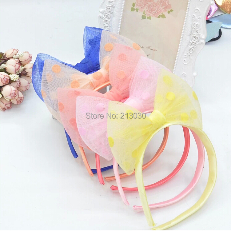 On Sale Brand Headwear For Girls Quality Big Organiza Bowknot Hairbands Dot Print Ribbon Knot Hair Clips Accessories For Child